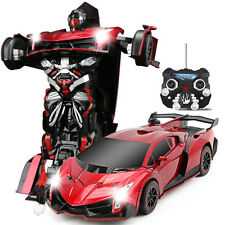 Transformers Robot Remote Control Car With Music Red Rechargeable for Kid Gift
