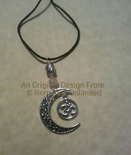 Filigree Crescent Moon OHM BUDDHA FACE Rose Quartz Beads Pendant Wicca Reiki