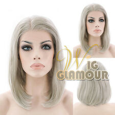 "Short Straight 12"" Blonde Mixed White and Grey Lace Front Wig Heat Resistant"