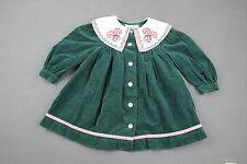 VINTAGE Baby Girl HOLIDAY DRESS 2T Toddler BONNIE JEAN Green Candy Cane Collar