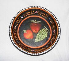 PAPER MACHE DECORATIVE BOWL, Hand painted Clay Black Stoneware Fruit design