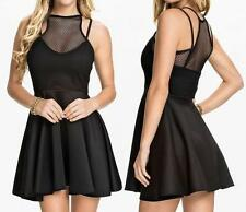 NEW WOMENS BLACK FISHNET OVERLAY TOP FIT & FLARE SHORT SEXY DRESS--L 9239
