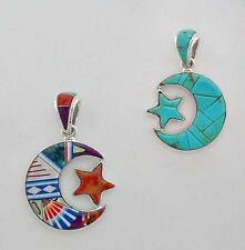 PLEASING HALF MOON PENDANT IN TURQUOISE/MULTICOLOR MICRO INLAY IN .925 SILVER