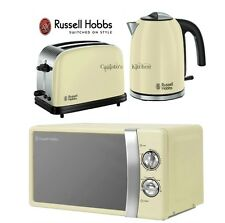 Russell Hobbs Colours Plus Kettle and Toaster Set & Manual Cream Microwave New