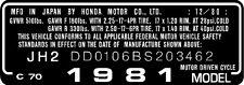 HONDA C70 HEADTUBE TAG  / REPRO DECAL
