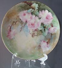 """8 5/8"""" VTG/Antq Haviland Limoges France Ogden Hand Painted Plate Victorian Roses"""