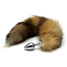 Stainless Steel Metal Butt Plug Small Faux Fox Tail Sexual Anus Adult Product