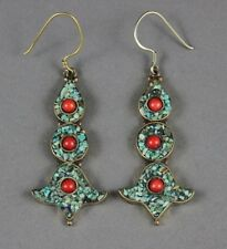 Nepalese Tibet Silver Earrings Inlaid with Turquoise & Coral Beads USA SELLER