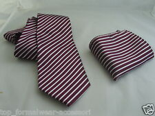 "(007) SILK-Burgundy with Silver Stripes-Necktie & Hankie Set-TIES-3.5""=9cm Width"