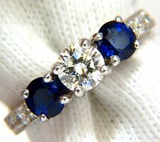 $6500 1.85ct NATURAL BLUE SAPPHIRE DIAMONDS RING 14KT CLASSIC  THREE BEAD SET