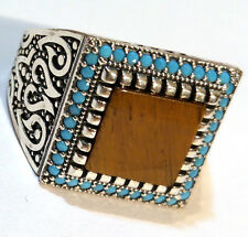 HQ.Turkish 925 S. Silver Tiger's Eye&Turquoise Stone Men's Ring Sz 10.5 us #n105