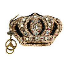 Mary Frances Royal Crown Queen Extensively Beaded Coin Purse Key Fob Chain New