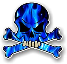 SKULL & CROSSBONES Design & Electric Blue Flames Horror Motif car sticker decal