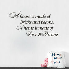 A HOUSE IS MADE OF BRICKS AND BEAMS Quote Wall Sticker For Home Decor Art Words