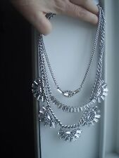 ALDO STUNNING SILVER TONE  & BLINGED OUT THREE STRAND STATEMENT NECKLACE