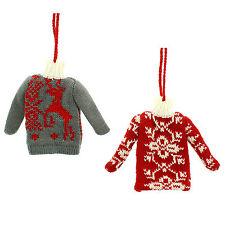 11cm noël rouge tissu gris sweater pull nouveauté suspendu tree décoration