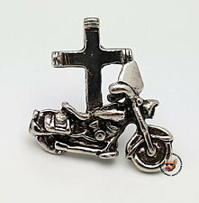 CROSS AND MOTORCYCLE BIKER VEST JACKET PIN   * MADE IN USA * CHRISTIAN BIKER