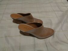 womens nine west hannah almond leather mule round toe heels shoes size 8 1/2