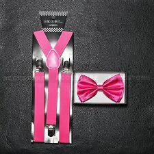 SUSPENDERS and BOW TIE COMBO SET-Tuxedo Classic Fashion Hot Pink