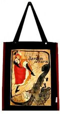 HANDBAG TOULOUSE-LAUTREC JANE AVRIL PARIS  FRANCE ART VINTAGE ADVERT BLACK BAG