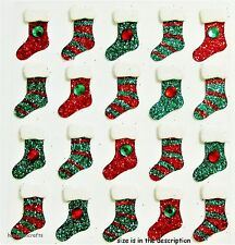 EK SUCCESS JOLEE'S BOUTIQUE 3-D GLITTER STICKERS - CHRISTMAS STOCKING REPEATS