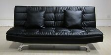 Sophia 3 Seater Sofa bed in bonded leather - Free Cushions - Chrome legs