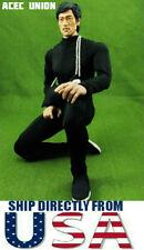 """1/6 Kung Fu Bodysuit Set BLACK For 12"""" Hot Toys Male Figure - U.S.A. SELLER"""