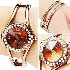 Exquisite Crystal Diamond Dial Wrist Watch Women's Rose Gold Bracelet Watches