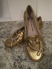 Michael Kors Blair Moccasin Loafer Boatshoes Comfort Leather Flat Gold 7.5 M New