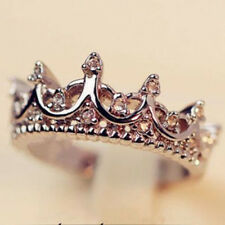 Women New Fashion Silver Crystal Crown Rhinestone Rings Wedding Palace Jewelry