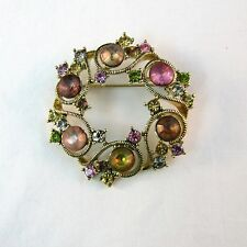 Monet Round Pin Pink Yellow Green Rhinestones Gold-tone Brooch