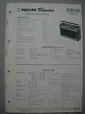 Philips 12 RP494 Kofferradio Rallye Luxus Service Manual Ausgabe 01/69
