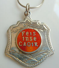 Vintage Irish Sterling Silver & Red Enamel Feis Inse Choir (Caoir)Etched Medal