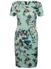 New M&S womens ladies Marks and Spencer green floral body con midi dress size 16