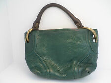Kenneth Cole small pebbled leather baggette purse shoulderbag green brown brass