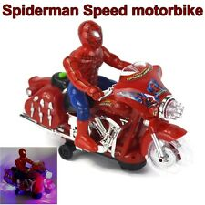 "10"" amazing spiderman vitesse moto bike figure light sound rc garçon enfants jouet uk"