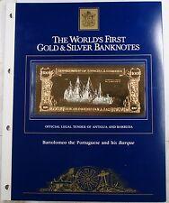1981 Antigua/Barbuda $100 Gold Banknote-Bartomelo The Portuguese & His Barque