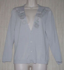 J.Crew Gray Floral  Wool V NECK CROPPED SLEEVE Button Cardigan Women Size:L