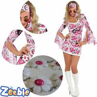 60s 70s Ladies Psychedelic Hippy Chick Costume Hippie Fancy Dress Outfit UK 8-16