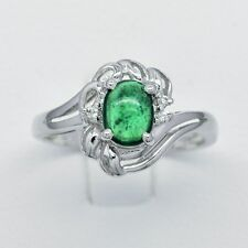 0.67 Carat Natural Green Tsavorite Garnet Ring in 925 Silver