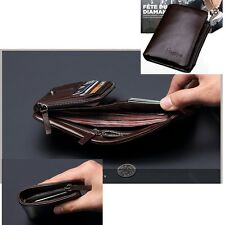 Men's Genuine Leather Trifold Wallet Clutch ID Card Holder Zip Coin Pocket Purse