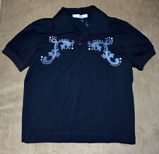 New Authentic Young Versace Navy Jean Detail Cotton Polo Shirt (Size 6 Years)