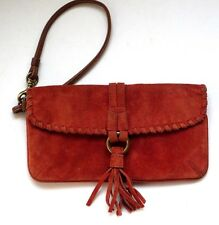 Vtg GUC Coach Western Clutch Wristlet Cosmetic Bag Coin Purse Check Wallet Suede