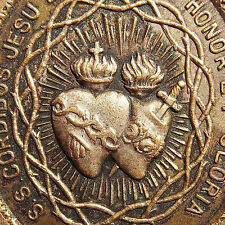 Large Sacred Hearts Of Jesus & Mary Medal Old Holy Grail Spanish Eucharist Charm