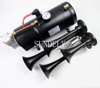 Quad 4 Air Train Horn Kit Semi Truck Boat BLACK Horns + 150 PSI Compressor 12v