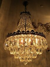 Antique Vnt French HUGE Basket Style Crystal Chandelier Lamp 1940's 17in dmtr***