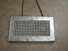 WILARDY Vtg Mother-of-Pearl LUCITE COMPACT PURSE Cigarette Case RHINESTONE BOX