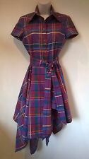 Vivienne Westwood Anglomania purple check asymmetric shirt Dress Size 38 UK 8