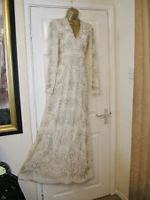 10 NEEDLE & THREAD DRESS CREAM SILVER BEADED V-NECK LONG SLEEVES VINTAGE GATSBY
