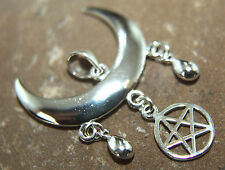 WICCAN MOON with Pentagram 925 Sterling Silver Pendant Pagan Wicca Witch Alchemy